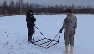 Hunting under ice with a deep seeking detector. Amazing video