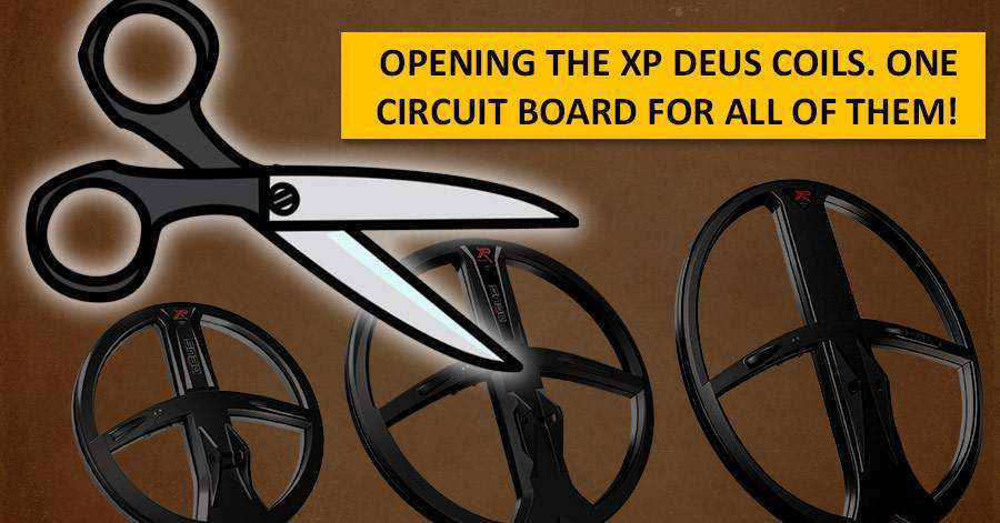 Opening the XP Deus coils. One circuit board for all of them!