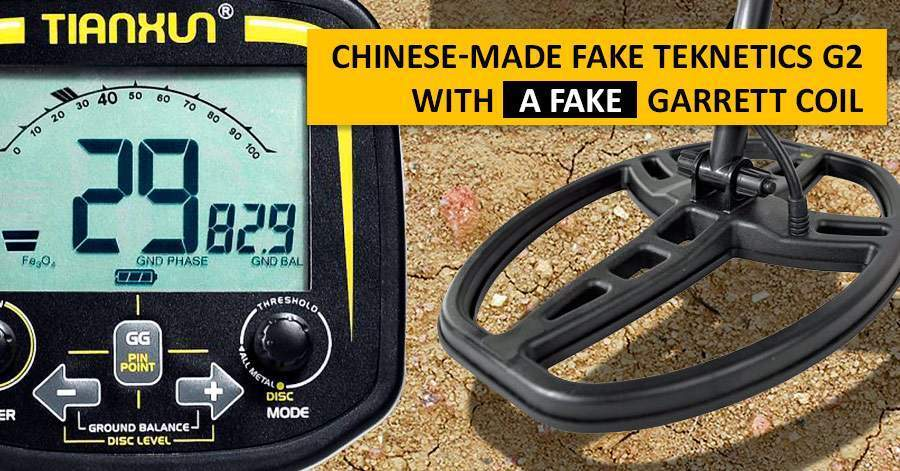 Chinese-made fake Teknetics G2 with a fake Garrett coil