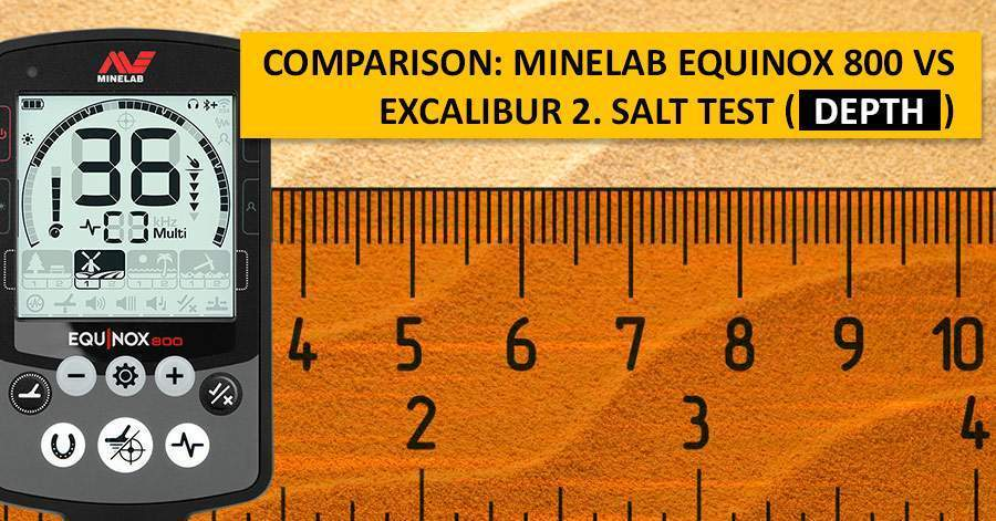 Comparison: Minelab Equinox 800 vs Excalibur 2. Salt Test (depth)