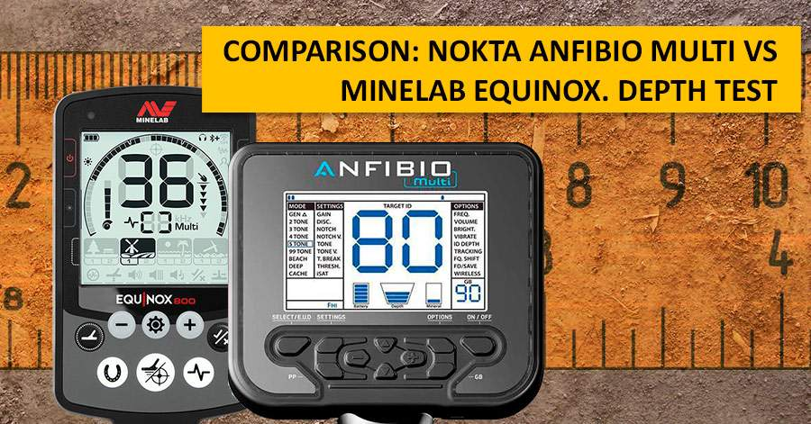 Comparison: Nokta Anfibio Multi vs Minelab Equinox. Depth test