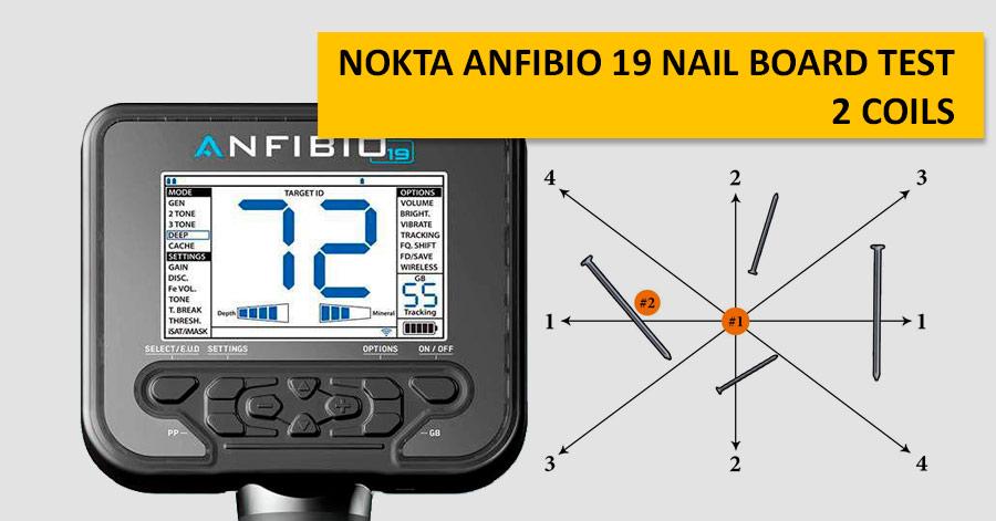 Nokta Anfibio 19 Nail Board Test. 2 coils